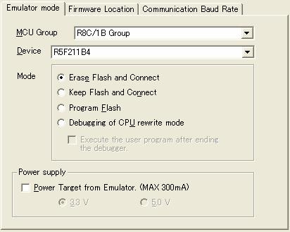 Section 7 Debugger Setting 2. [Emulator mode] tab Device selection, mode specification and power supply setting are made from the [Emulator mode] tab of the [Emulator Setting] dialog box. Figure 7.