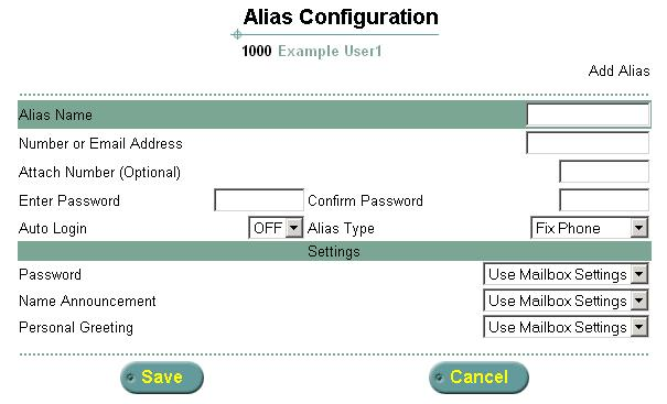 1 From the Main menu, select Alias Configuration. The Alias Configuration screen appears. Figure 21 Alias Configuration Screen 2 To create a new alias, click Add New.