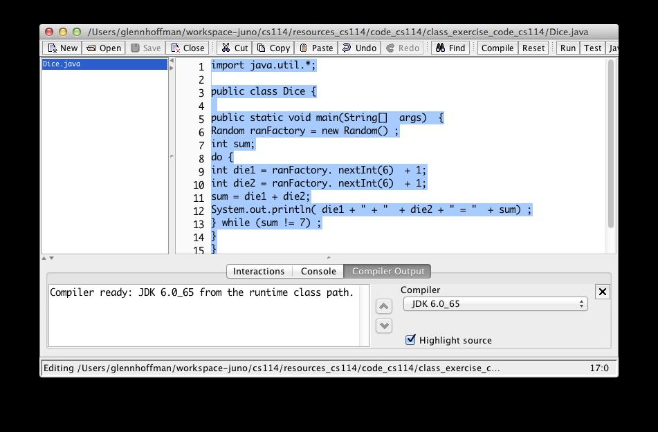 Indenting in DrJava You can select the contents of the