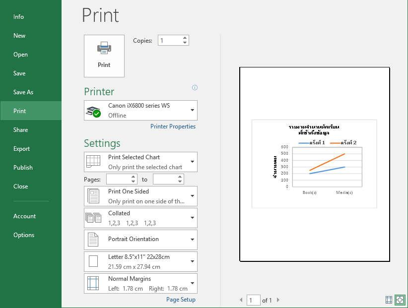To print a chart select the chart Click File tab Click