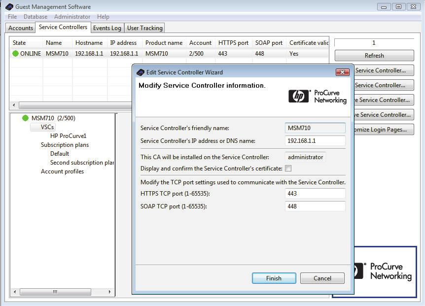 Guest Management Software Administrator Guide 31 3 Working with the Guest Management Software Double-click a controller in the list to edit its IP address or DNS