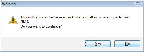 In the Warning window, confirm that you want to remove the controller from the Group Management Software. Press Ctrl+A to select all entries in the list.