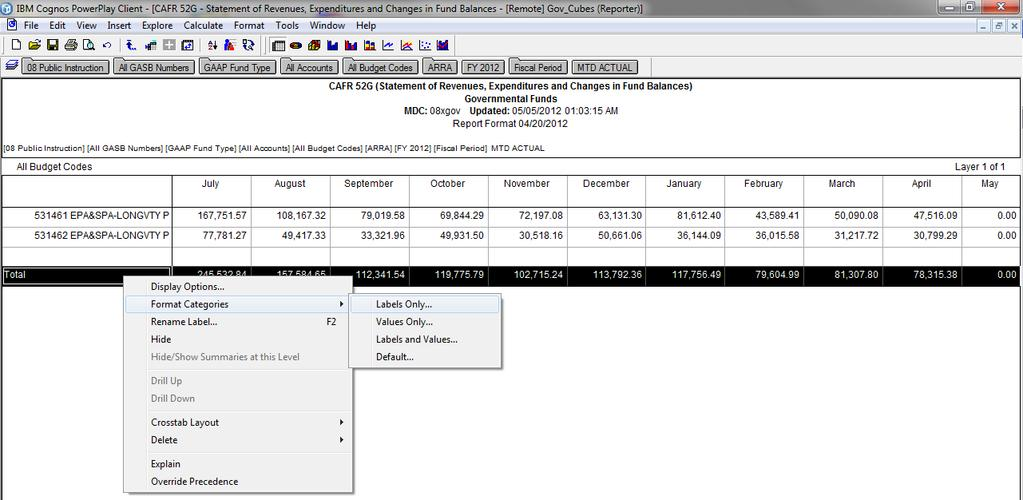Modifying Custom Reports To add double underline formatting 4. Click on TOTAL to select it. 5. Right click the mouse. 6.
