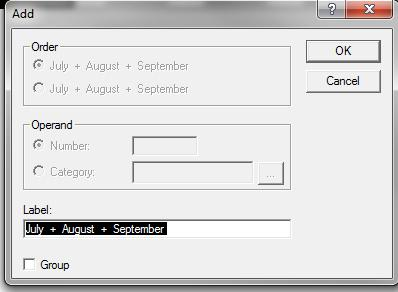 Drag the curser across August and September to highlight all three months. To set up the calculation 2. Click on Calculate on the menu bar. 3. Click on Add from the dropdown menu.