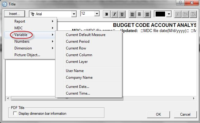 Formatting, Printing and Exporting To view the available Variable variables 6. Position the cursor over Variable.