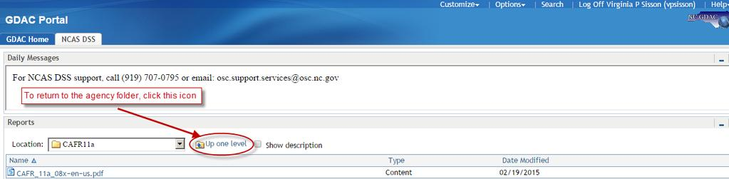 Accessing DSS Data To return to the agency folder, you can click on the Up one