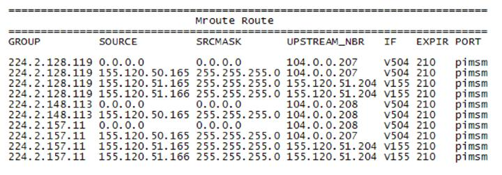 Multicast route information table; one is a (*,G) entry that points toward the rendezvous point (RP) router, and the other is an (S,G) entry that points toward the source.