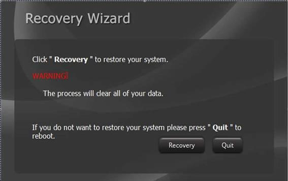 USER MANUAL CHAPTER 5 AMI UEFI BIOS SETUP 5.3 Using Recovery Wizard to Restore Computer Note: Before starting the recovery process, make sure to backup all user data.