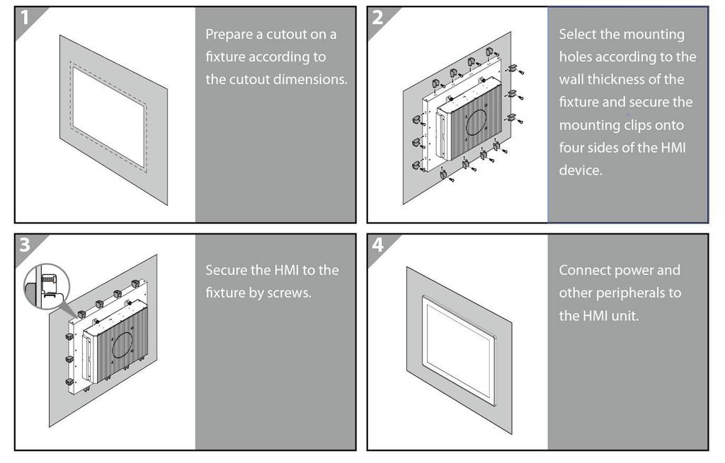 USER MANUAL CHAPTER 6 MOUNTING 6.3 Mounting Guide M-series HMI devices come with different mounting options suitable for most of the industrial and commercial applications. 6.3.2 Panel Mounting Panel Mounting solution allows installing the HMI device onto the wall.