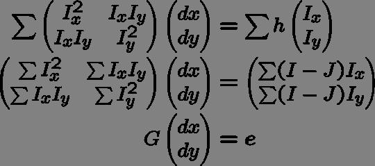 Then, (dx, dy) is obtained by solving this linear equation (Lucas-Kanade