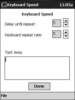 Keyboard Speed The Keyboard Speed screen in the Click N Type application allows you to regulate the keystroke repeat function.
