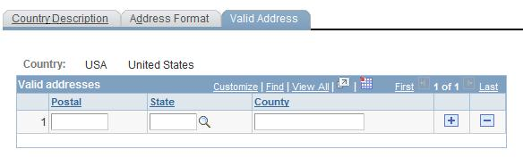 Formatting Addresses Chapter 2 Valid Address page To enable this page, select the Enable Address Search check box on the Address Format page. This enables the Used in Search column.