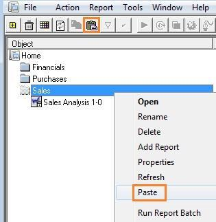 5. Right-click on the folder and select Paste. 6. Rename the newly copied report. By default, the report s name is Copy of <report name>.