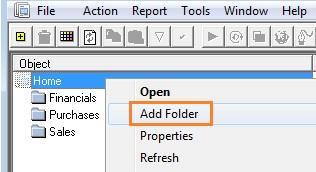 Adding and creating a new report To create a new report from existing containers, you must first create a new folder. Remember that folders contain all the reports related to a particular topic.