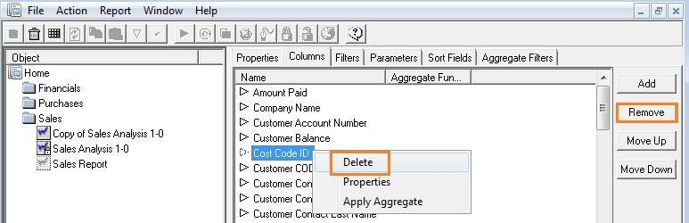 Deleting Columns 1. From the Properties window, right-click on the desired column. 2.