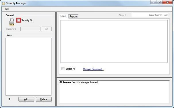 The Security Manager window will display: 2.