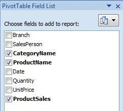 Remove, Add and Move Fields When selecting a field from the data area to move or remove, you need to select the field by placing the mouse pointer on the border of the field and clicking when the