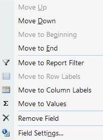 Move Fields within the Table Method 1. From the Field List, drag the field to the desired area. OR 2.
