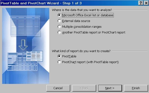 Create a PivotTable Report To create a PivotTable you need to identify these two elements in your data: Have a list in Microsoft Excel with data fields (headings) and rows of related data Identify