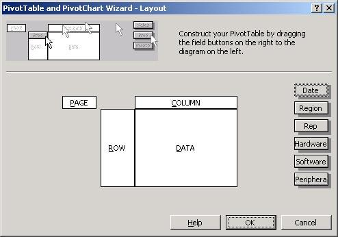 The PivotTable and Pivot Chart Wizard layout window appears: 15.