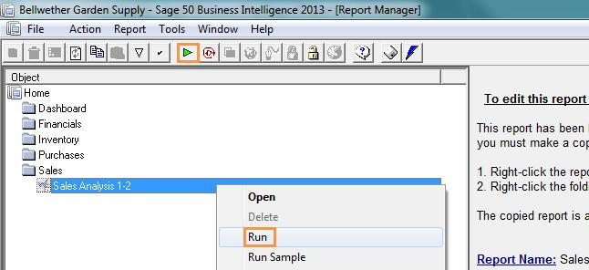 Running a report from the report manager 1. Select the report you want to run.