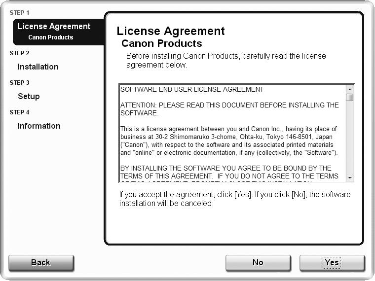 Move the cursor over items to display explanations. Read the License Agreement screen carefully and click Yes.