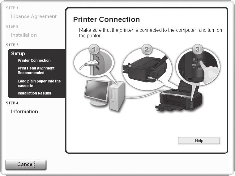 1 2 3 4 5 6 7 8 USB When the Printer Connection screen appears, connect one end of the USB cable to the computer, the other to the printer, then TURN THE PRINTER ON. Click Next.