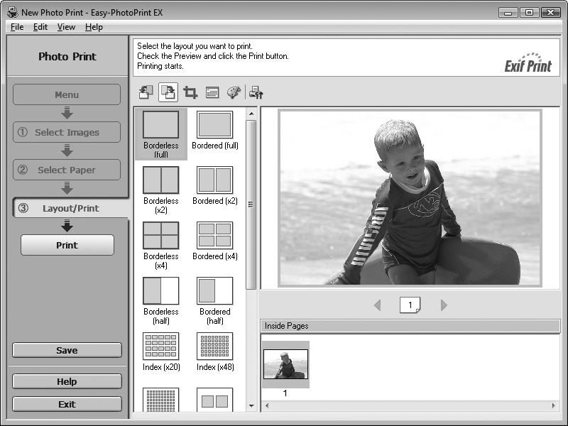 "Select the image you want to print in a folder, then click Layout/Print. When a photo is selected, the number of copies is set to ""1."