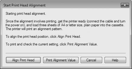 When a message appears after clicking Align Print Head, click OK.