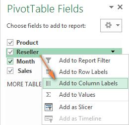 The Field Section contains the names of the fields that you can add to your pivot table. The filed names correspond to the column names of your source table.