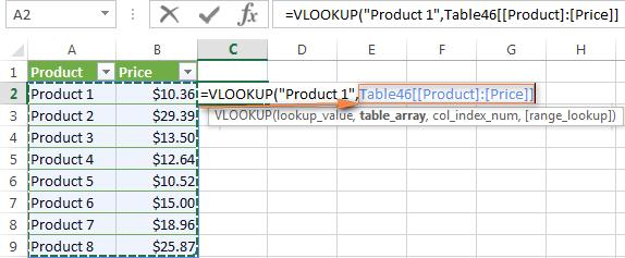 "And now you can write the following VLOOKUP formula to get Product 1's price: =VLOOKUP(""Product 1"",Products,2) Most range names in Excel apply to the entire workbook, so you don't need to specify the"