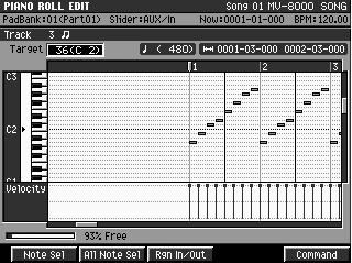 Another cool screen to show is the PIANO ROLL screen. This screen will graphically show the notes that are in a particular track. This screen also scrolls while the song plays. 1.