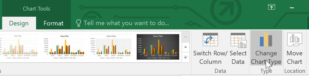 To change the chart type: If you find that your data isn't well suited to a certain chart, it's easy to switch to a new chart type.