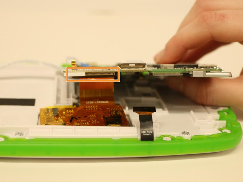 Step 12 Rotate your device 180 degrees so the the motherboard is on your right-hand side and gently lift the front