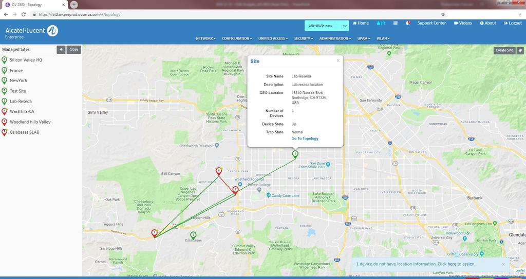 Geo-Location Topology Geo-location node map shows nodes and