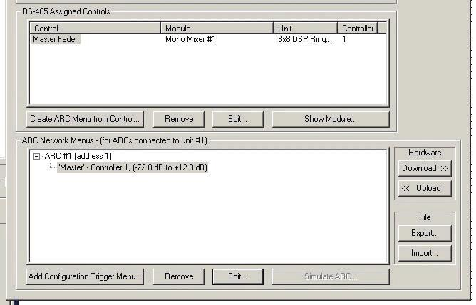 Using the External Control Manager with an ARC After opening the External Control Manager, you have the options of changing editing or removing RS-485 controlled parameters from the list in the