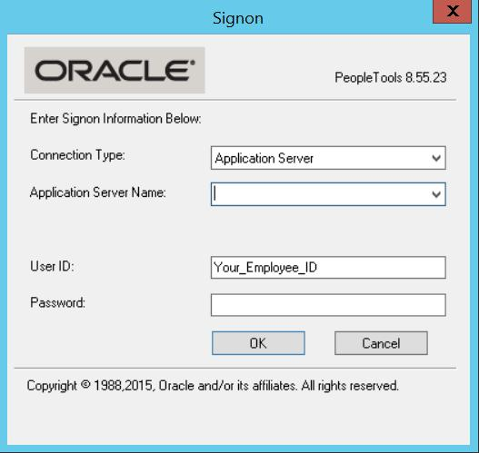 Next, an Oracle lgin screen shuld appear. Pick yur envirnment frm the Applicatin Server Name list if it des nt default t SFS. Enter yur lgin credentials.