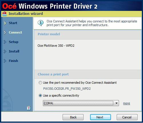 'Custom installation' for specific IT needs When you select the printer model from the list, no printer information is retrieved during installation.