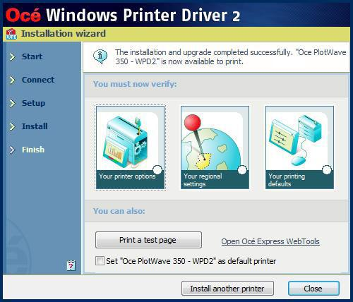 'Custom installation' for specific IT needs 'Install another printer' or exit the 'Installation Wizard'.