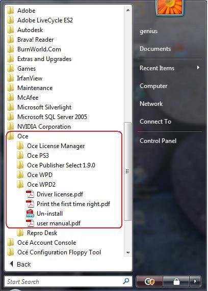Uninstall the Océ Windows Printer Driver 2 Uninstall Uninstall the Océ Windows Printer Driver 2 Introduction Select and follow the uninstallation procedure corresponding to the method you applied for