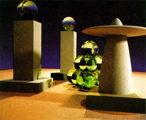 Vintage path tracing image by Jim Kajiya (1986) Also
