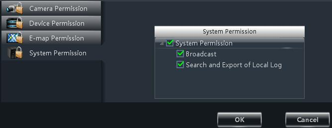 Restore Default Permission In the interface of User Management, select a user and then click Restore Default Permissions to restore the