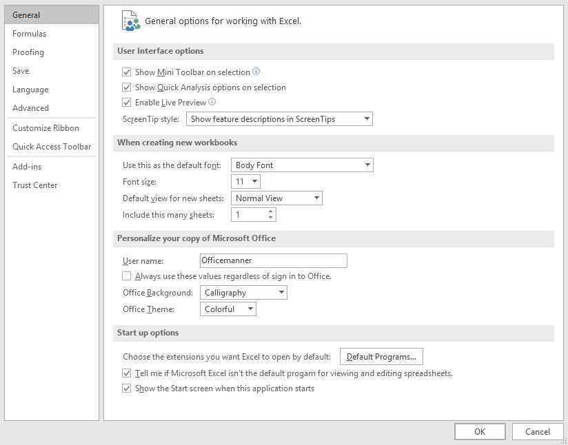 Getting Started Preferences Basic Excel Options (preferences) can be changed, the user name, which is added to certain
