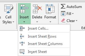 Formatting Inserting Rows and Columns Rows and column can be inserted into a worksheet between existing