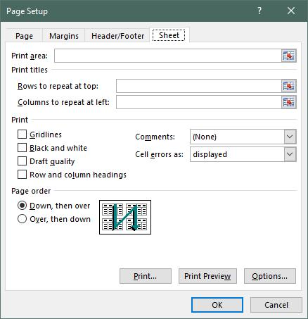 Printing Print Titles Row and columns of the worksheet may be specified as titles, and these can be display on