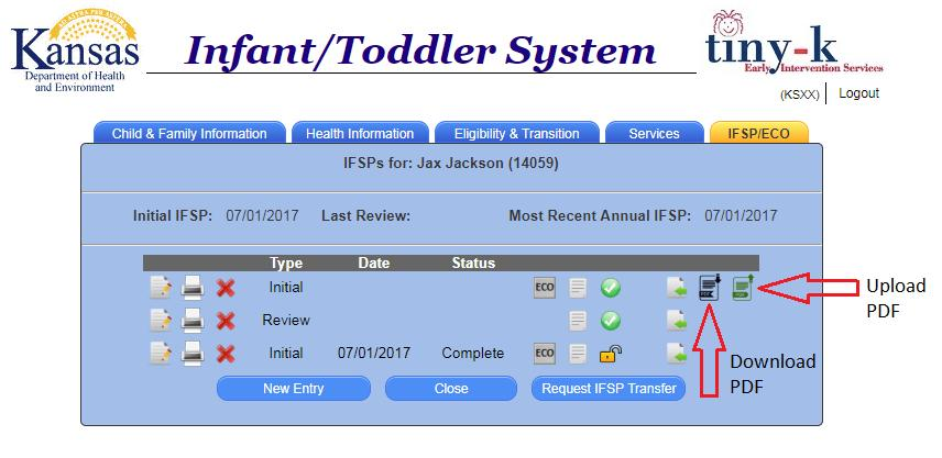 A dwnladable IFSP is specific t an individual child s case number. It cannt be used as a blank IFSP, editable dcument t be upladed t different children.