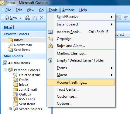 Changing Email Settings in Micrsft Outlk 2007 1.