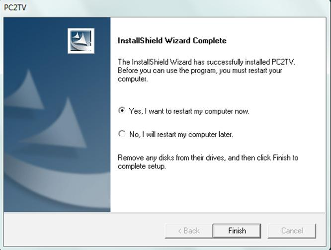 "After the setup is complete click ""Finish"" and restart your source device. 7."