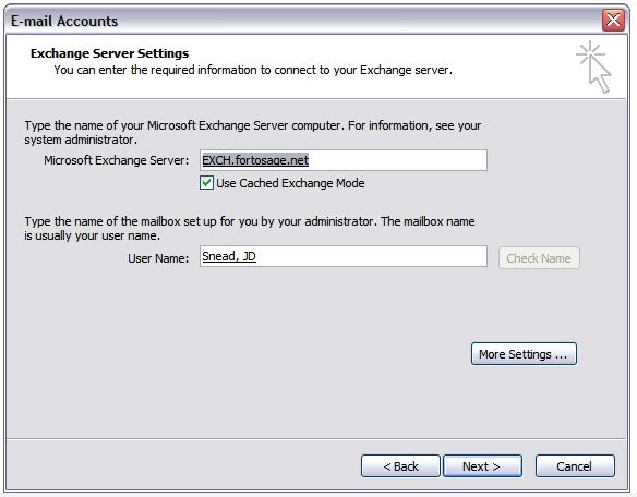Microsoft Outlook Email Setup (continued) Enter EXCH.fortosage.