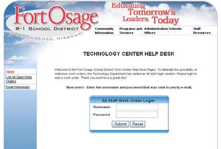 Staff Resources (continued) Technology (work orders) This web site is for submission and tracking of